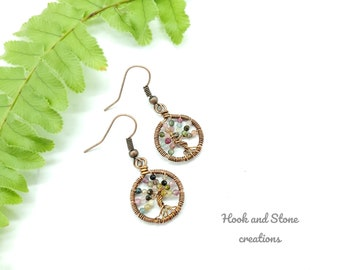 Tourmaline wire wrapped tree of life earrings - handmade earrings - multi color tourmaline stone beaded tree of life earrings - jewelry