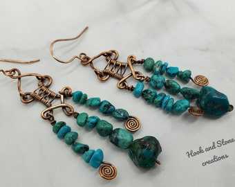 Turquoise nugget earrings - wire wrapped copper and turquoise earrings - chandelier earrings - turquoise jewelry  - handmade earrings