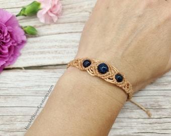 Light gold adjustable macrame bracelet with dark blue and black stone beads - macrame jewelry - handmade jewelry - fashion accessories -