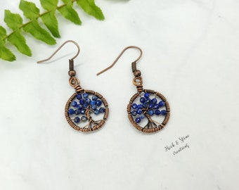 Lapis wire wrapped tree of life earrings - handmade wire wrapped lapis earrings - handmade jewelry - lapis earrings - lapis jewelry -