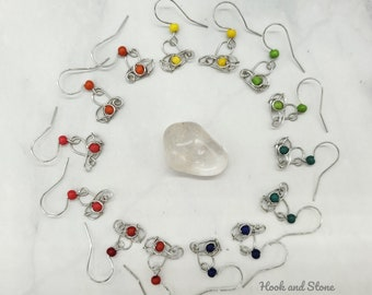 Cute little heart earrings with dyed howlite beads - handmade wire wrapped earrings with colorful stone beads - jewelry - earrings