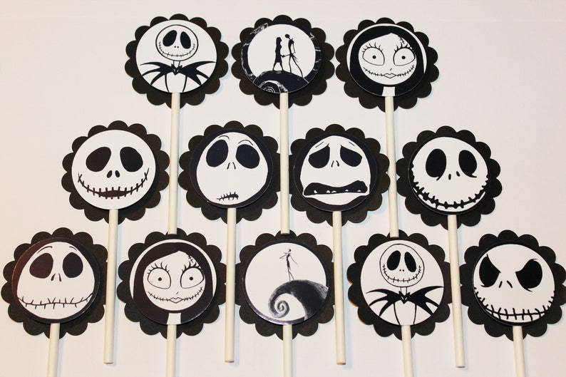 The Nightmare Before Christmas Cupcake Toppers 12 Count Cake Etsy