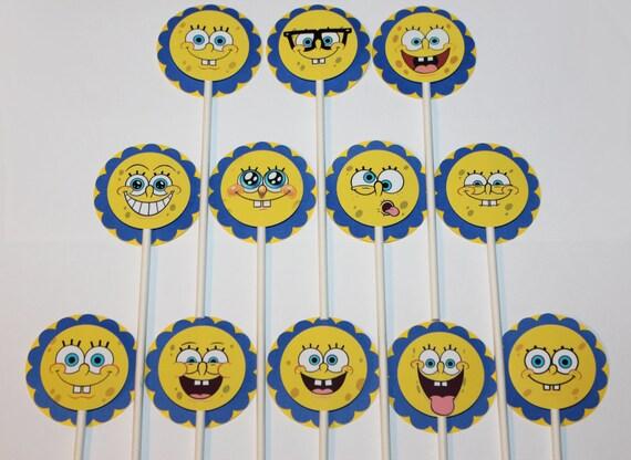 Spongebob Schwammkopf Cupcake Toppers Zahlen 12 Kuchen Spitzenwerken Spongebob Faces