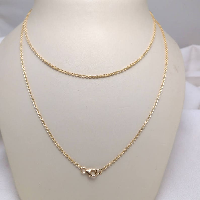 Textured Cable Link 30 Long Pendant Chain in Yellow Gold Filled