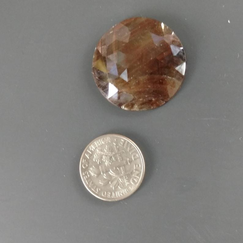 Shimmering Brown Sapphire Rose Cut Slice Rustic Loose Gem for a Custom Design