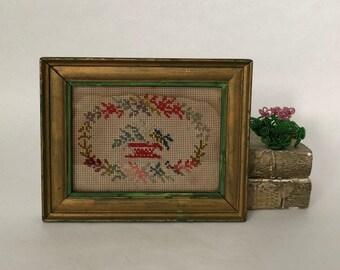 antique framed flower basket needlework, 19th century Berlin work pattern embroidery, vintage sewing handicraft, worn with age