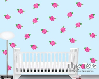 Rose Wall Decals Stickers-Shabby Chic Nursery Wall Decals-Children's Flower Wall Decal