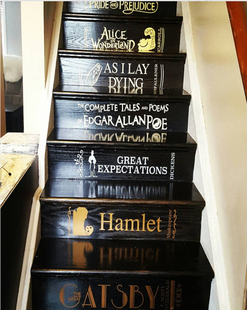 Stair riser decals stair case stickers classic books etsy