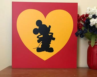 Mickey and Minnie Mouse  Wood Signs | Custom Wood Sign | Hand Painted Sign | Cabin Sign | Rustic Sign gift Set of 3