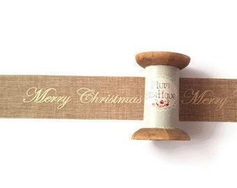 De Hesse Câblé Bord ruban 63 mm cross stitch Joyeux Noël Noël Toile De Jute Festive