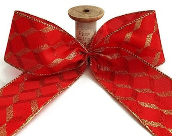 Sparkly Wired Christmas Ribbon 63mm Wide Red or Gold SOLD PER METRE