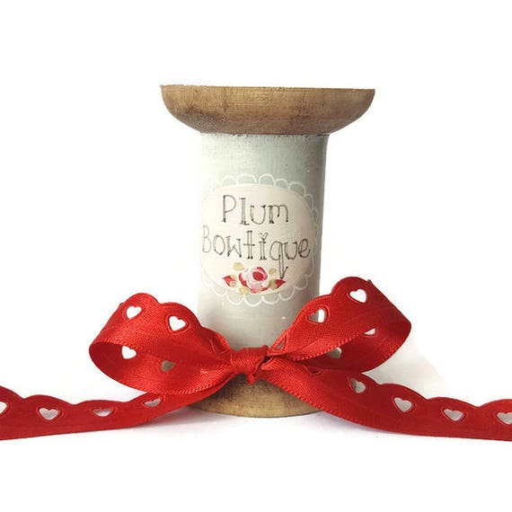 VAT Free Groves Trim Valentine Ribbon 1 Spool Handmade Red Pink Hearts 10mm