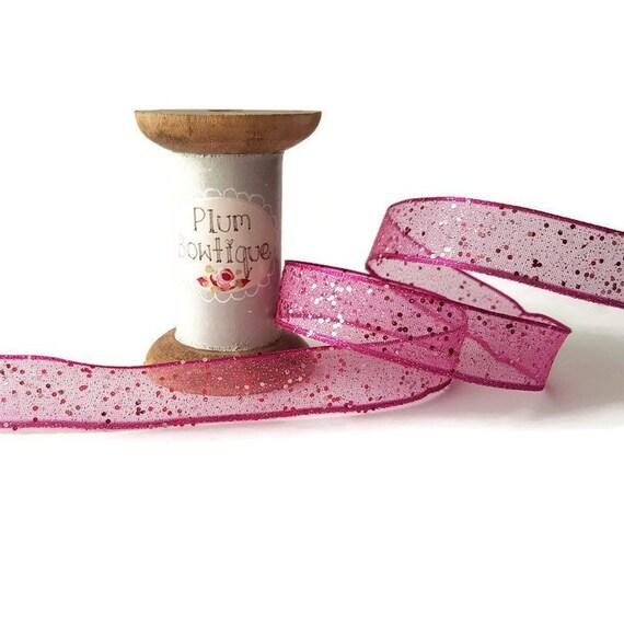 Per Metre 40mm Pink Random Glitter Sheer