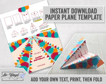 Paper Plane Template Printable Plane Sand Cruiser Home and School Activity Educational Fun Birthday Party Fun Instant Download