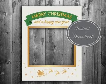 Printable Christmas Photo Booth Frame Digital Download Giant Etsy