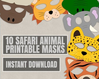 10 safari animal mask printables kids safari masks printable ideas for kids instant download kids craft diy tiger mask lion leopard