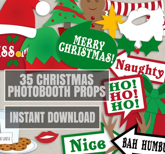 35 Christmas Party Photo Booth Props Christmas Photo Props Etsy