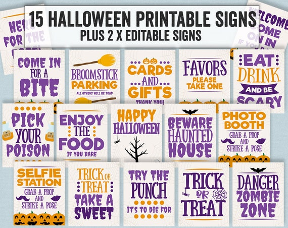 image regarding Trick or Treat Signs Printable identify Halloween Occasion Signs or symptoms, Printable halloween social gathering signs or symptoms, Editable halloween indicators for get together, trick or handle occasion indicators, beware indicators, HAL