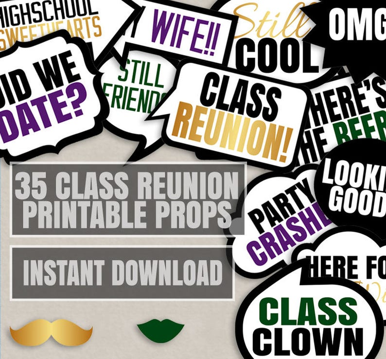 Class Reunion Photo Props Reunion Photo Booth Gold Party Printable Props Class Reunion Speech Bubble Photobooth Props For School Reunion
