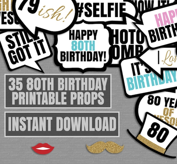 35 80th Birthday Party Printable Props Photo Booth Props Etsy