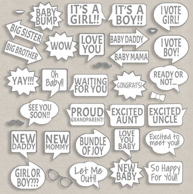 35 Baby Shower Silver Glitter Printable Speech Bubbles Props New