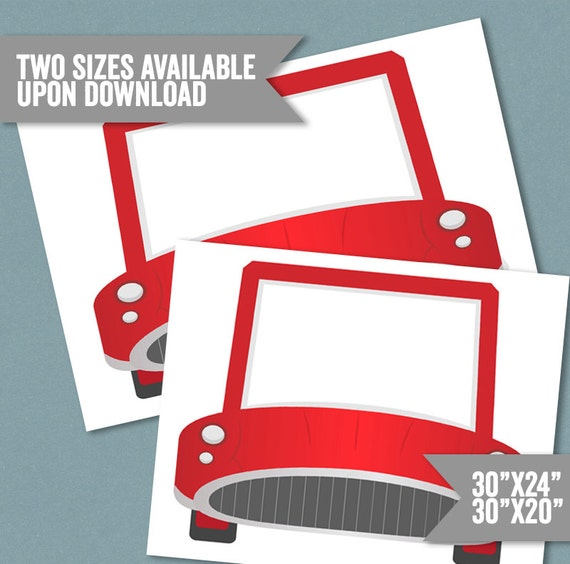 Coche marco Prop coche rojo para imprimir foto cabina marco | Etsy