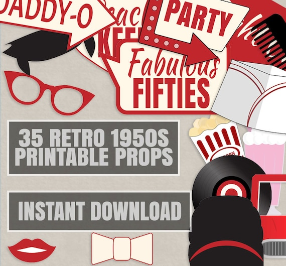 35 Retro 50s Theme Party Props Red And Cream Diner Party Etsy