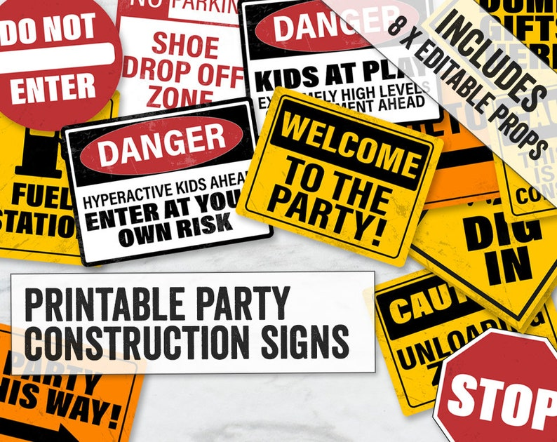 picture relating to Printable Construction Signs known as Framework Occasion Symptoms Printable, Editable Framework Social gathering Symptoms, Warning little ones occasion indications printable, framework indications editable, CN1