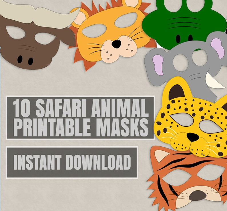 10 Safari Animal Mask Printables Kid S Safari Masks Etsy