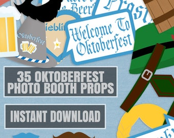 35 Oktoberfest Party props, Photo booth props for oktoberfest, beer festival photobooth props, german oktoberfest party diy props, instant