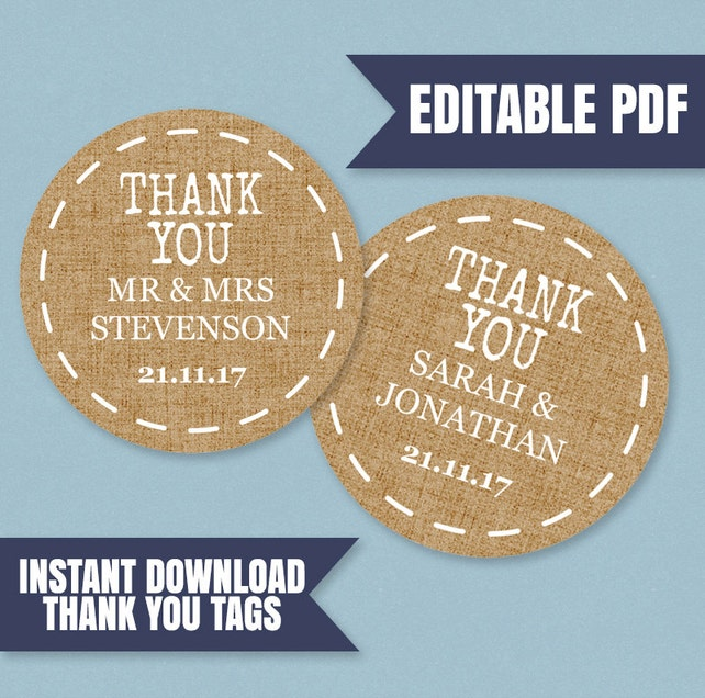 Printable Thank you Tags, Rustic thank you printable wedding tags, editable pdfs, edit yourself thank you tags, hessian thank you favor tags