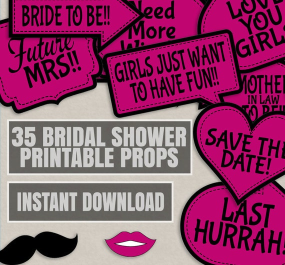 35 Pink Bridal Shower Printable Photo Props Bridal Photobooth Props Bridal Shower Photo Booth Props Hot Pink And Black Bridal Shower Diy