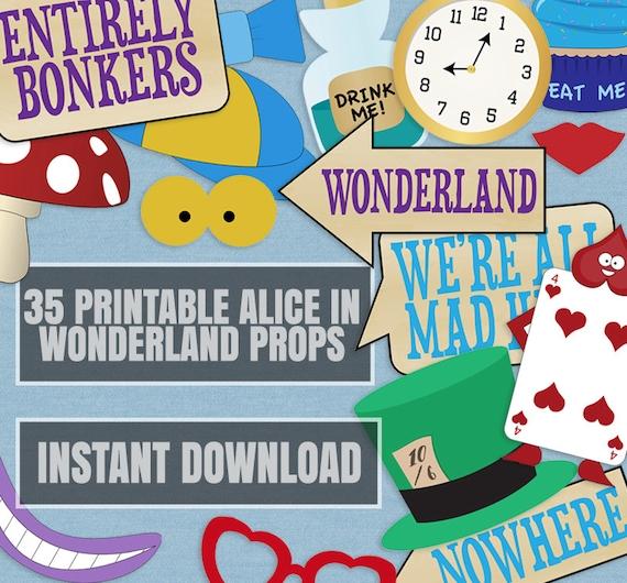 35 Alice In Wonderland Party Props Printable Diy Ideas For Etsy