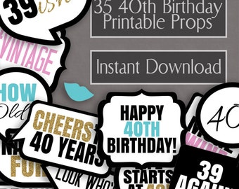 35 40th Birthday photo booth printable props, turning 40 party, black white gold glitter, photobooth props for birthday party, 40 years