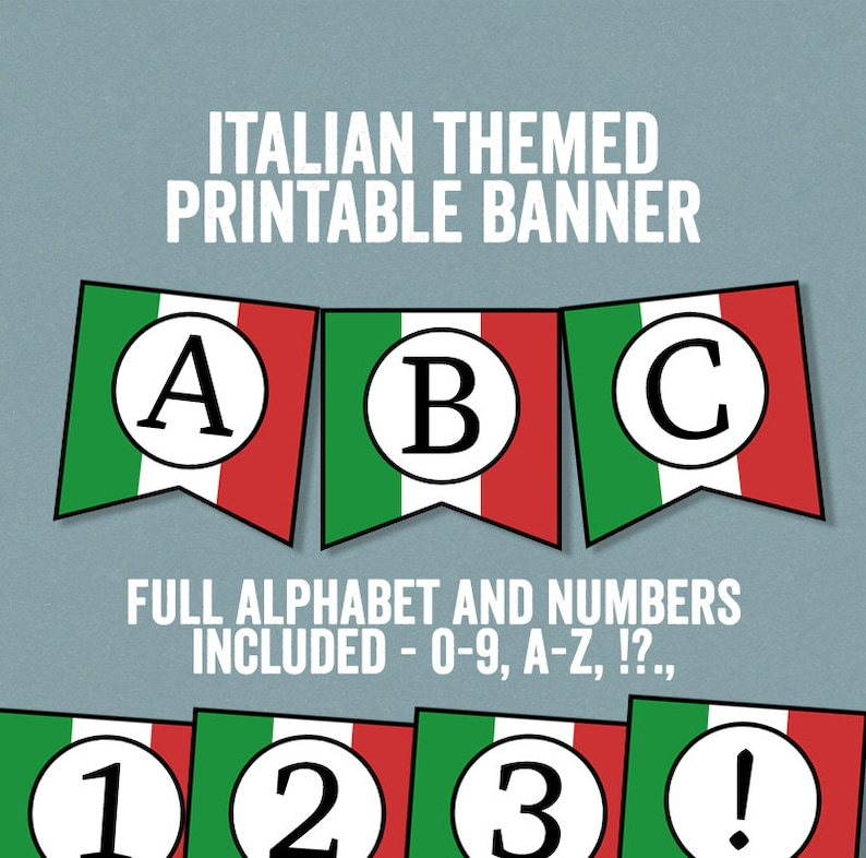 photo about Printable Italy Flag titled Italian Flag Bunting Printable, Any time period, Do-it-yourself Italy occasion banner, bunting do-it-yourself alphabet, italy topic banner, do-it-yourself italian social gathering decor IT1