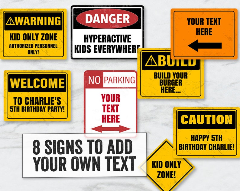 Construction Party Signs Printable, Editable Construction Party Signs,  Caution kid's party signs printable, construction signs editable, CN1