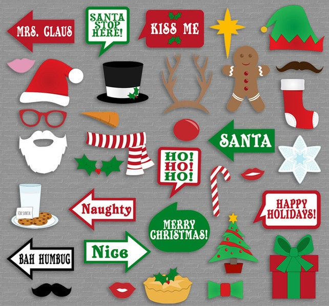 35 Christmas Party Photo Booth Props Christmas Photo Props Xmas