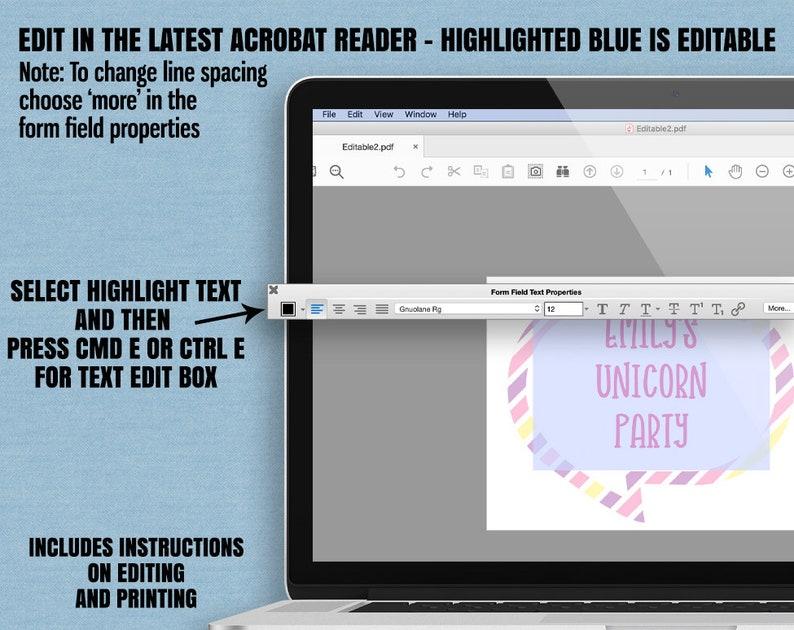Editable Unicorn photo booth props UC1 Printable Unicorn Photobooth props unicorn party printables Printable Unicorn party selfie props