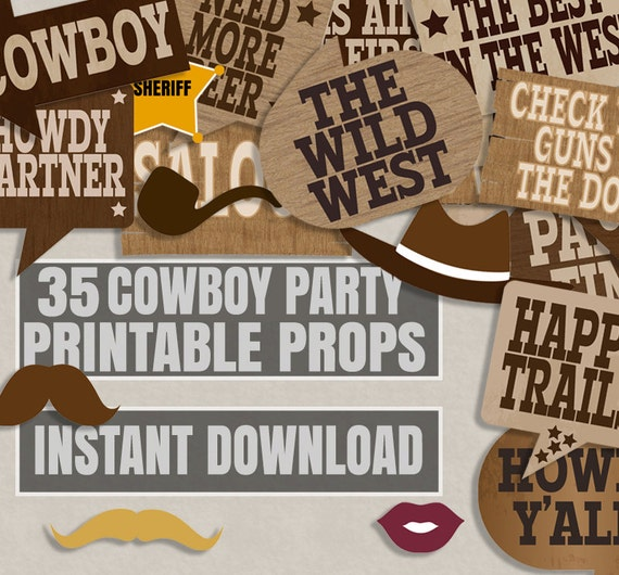 35 Old West Party Printables Photo Booth Props Cowboy Party Etsy
