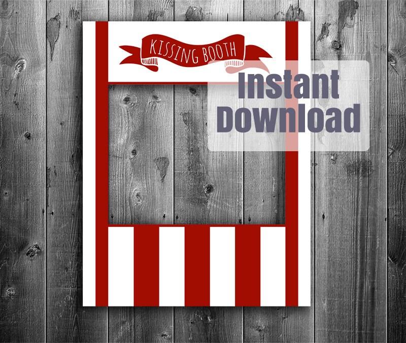 Cabina de besos Vintage imprimible foto marco de cabina prop | Etsy