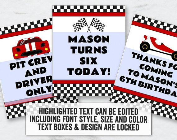 Racing Driver Printable Party Signs, Editable Race Car Party Signs, pit  crew, racing signs, editable checker racing driver party signs, RT1