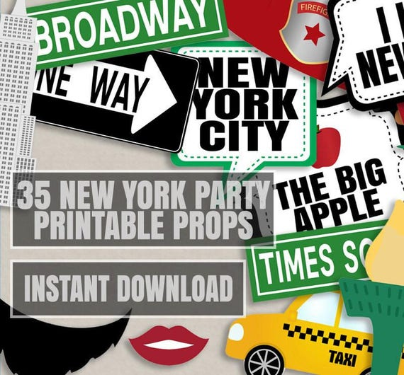 35 New York Photo Props New York Party Photo Booth Props I Etsy