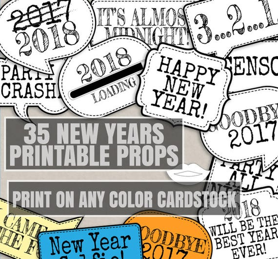 35 any colour new years props printable photo booth new year props save ink black white