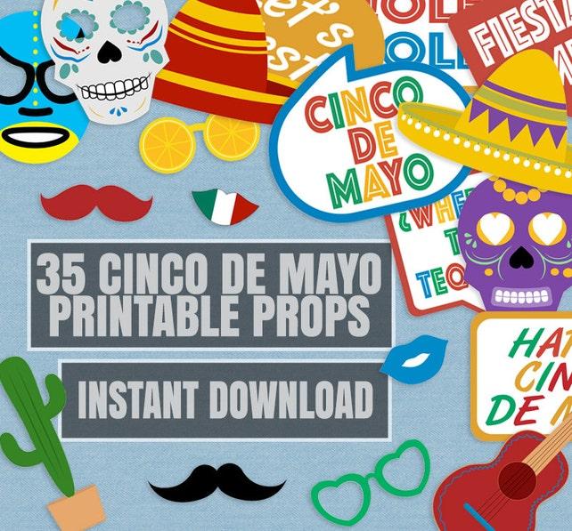 35 Cinco De Mayo Prop Printables Mexican Party Props Cinco De Mayo