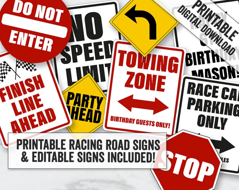picture relating to Printable Road Sign titled Racing Auto Bash Indications Printable, Editable Purple race motor vehicle street Signs and symptoms, Race car or truck occasion street symptoms printables, editable get together highway indications, RT1