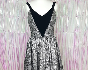 a2006b0b81 Vintage 1980s black and silver velvet and lamé prom evening dress by  Mariann Ross London. Uk size 12 14 medium