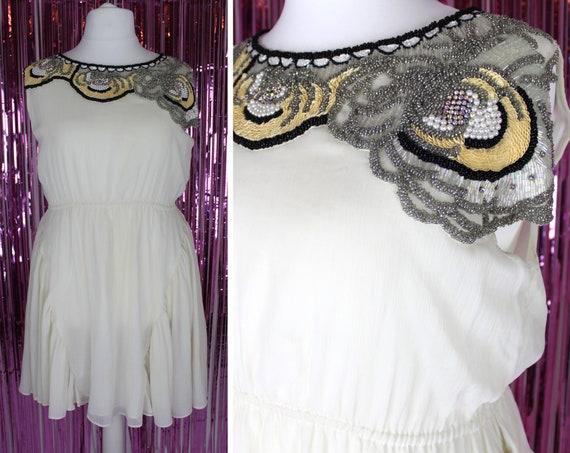 River Island 1920s style cream beaded floaty dress