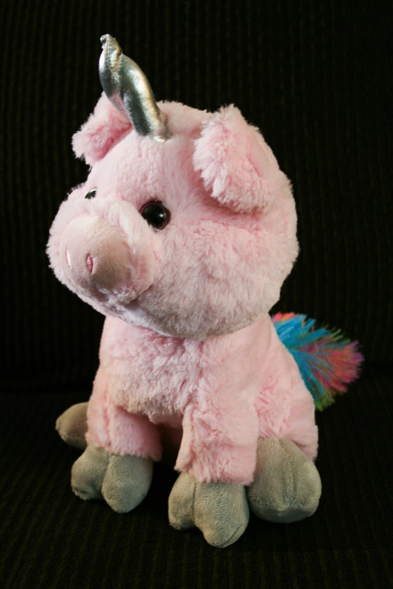 Unicorn Pig Stuffed Toy Pink With Horn Etsy