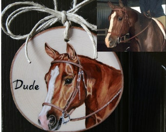 Custom pet portrait ornament on wood for wall or Christmas tree. Hand painted pet memorial. Pet's photo used, dog, cat, bird, horse