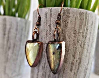 Antiqued Copper Electroformed Labradorite Earrings
